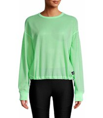 dkny sport women's mesh long-sleeve top - spearmint - size m