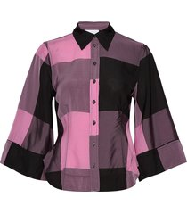 viscose check overhemd met lange mouwen roze ganni