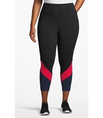lane bryant women's active capri legging - angled inset 26/28 black/pink