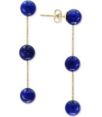 effy lapis lazuli (6mm) triple drop earrings in 14k gold (also in onyx)