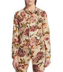 l'agence women's celine floral trucker jacket - pomelo rose - size xs