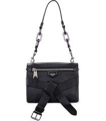 moschino women's belted leather shoulder bag - black