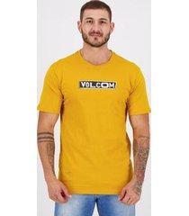 camiseta volcom silk pist shane amarela - masculino