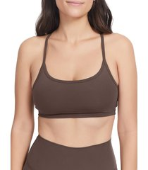 sage collective women's lived in racerback sports bra - shiitake - size m
