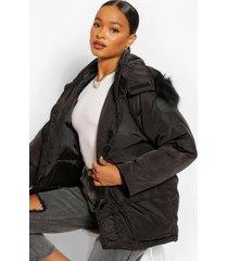 parka jas met biezen en faux fur zoom, black