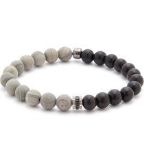 jasper wood sterling silver bead bracelet