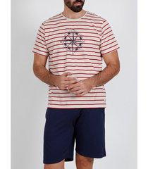 pyjama's / nachthemden admas for men pyjama shorts t-shirt rood brujula admas