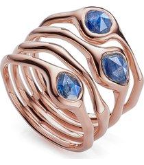 monica vinader siren cluster cocktail ring, size 5.5 in rose gold/kyanite at nordstrom