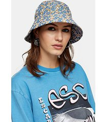 blue floral print bucket hat - multi