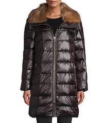 faux fur-trim down puffer coat