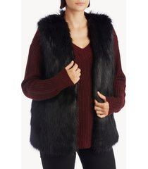 women's faux fur vest black one size acrylic polyester from sole society