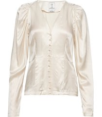 peaches short solid blouse lange mouwen crème line of oslo