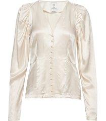 peaches short solid blouse lange mouwen crème line of oslo