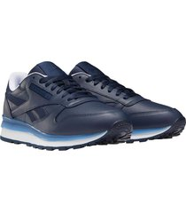 zapatilla azul reebok cl leather mu
