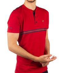 camiseta cuello henley sesgos roja ref. 107060919
