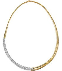 duo diamond, 14k white and yellow gold structured collar necklace, 1.3 tcw