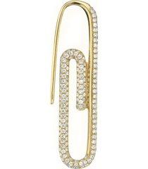 18k yellow gold diamond paper clip single earring right side