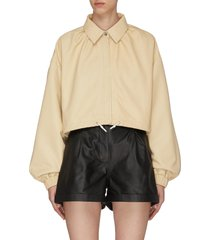 'lita' drawcord hem bishop sleeves crop leather jacket
