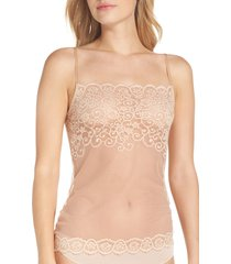 women's commando 'tulip' lace & mesh camisole, size small/medium - ivory