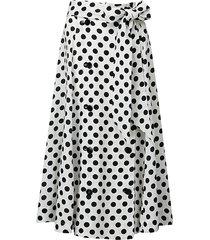 lisa marie fernandez women's polka dot-print linen midi skirt - white black - size m