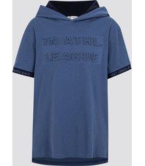 t-shirt med luva - marinblå