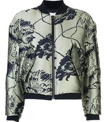 green and blue satin bomber jacket