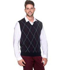colete passion tricot jacar azul-marinho