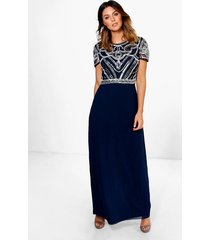 boutique sequin embellished maxi bridesmaid dress, navy