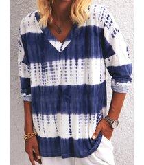 camicetta casual da donna con scollo a v manica lunga stampa tie-dyed
