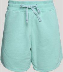 short de moletom feminino cintura alta com cordão e bolsos verde claro