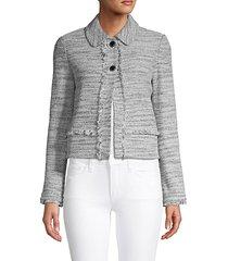 frayed-trim textured jacket