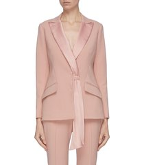 sash detail satin lapel blazer