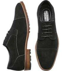 carlo morandi black suede cap toe derbys