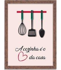 quadro decorativo a cozinha é o coração da casa madeira - grande