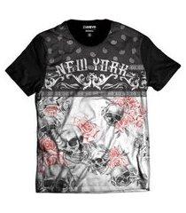 camiseta di nuevo caveira floral new york masculina