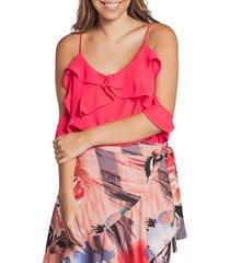 blusa adrissa femenina con volantes roja