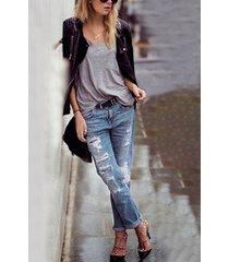 bolsillo rasgado aleatorio azul diseño jeans