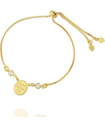 pulseira dona diva semi joias força, foco, fé dourado