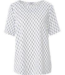 blouseshirt korte mouwen en print van peter hahn wit