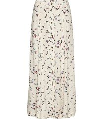 printed crepe skirt lång kjol creme ganni