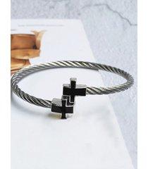 pulsera geométrica de apertura giratoria de acero inoxidable retro de moda para hombre