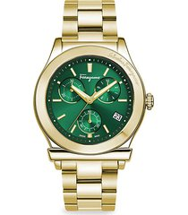 goldtone stainless steel chronograph watch