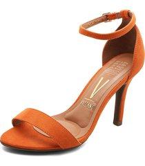 sandalia tacón naranja vizzano
