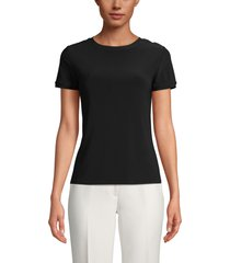 anne klein button back t-shirt, size large in anne black at nordstrom