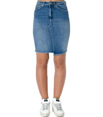 dondup blue cotton denim raw hem skirt
