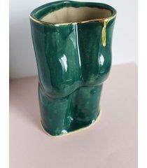 wazon dupa zielony ze złotem