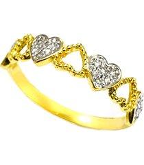 anel prata mil coração de ouro c/ zircônia e ródio dourada