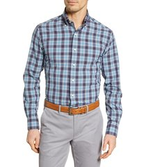 men's peter millar craftwoven regular fit plaid button-down shirt, size small - blue