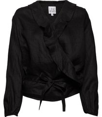 evelyn linen solid blouse lange mouwen zwart line of oslo