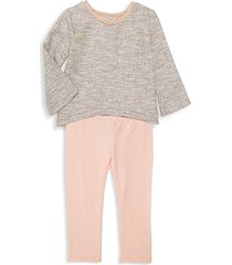 little girl's 2-piece heathered top & cotton-blend leggings set